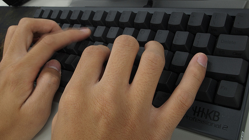 computer science student typing