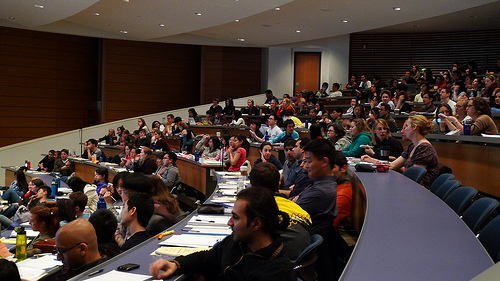 students in a college classroom